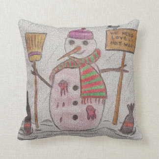 message de Noël de bonhomme de neige Coussin