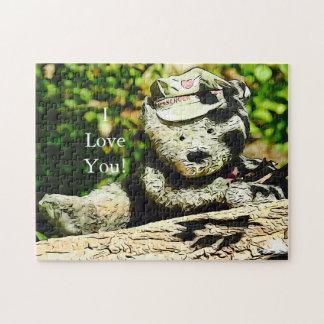 Messager de puzzle d'ours d'amour