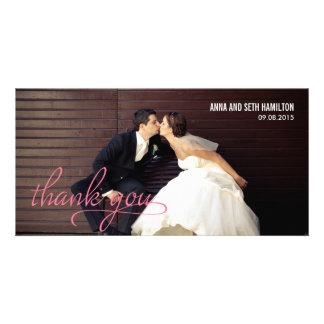 MET DE HAND GESCHREVEN dank u Kaarten - Roze Fotokaart