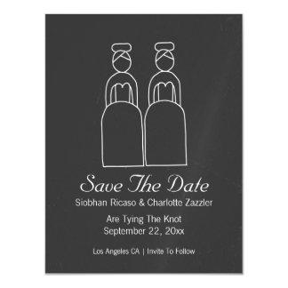 Mevr. en Mevr. Doodle Save The Date Vrolijk Magnetische Kaart