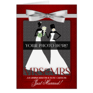 Mevr. & Mevr. Lesbian Gay Wedding Reception Briefkaarten 0