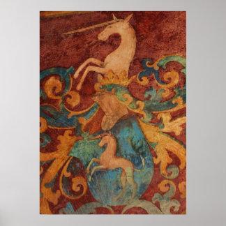 Middeleeuws het schilderen van de Eenhoorn POSTER
