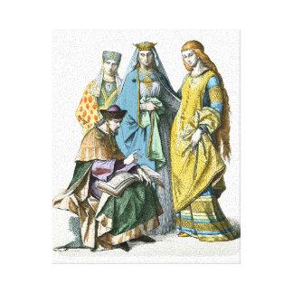 Middeleeuwse Duitse Edele Vrouwen - de Kostuums Canvas Afdrukken