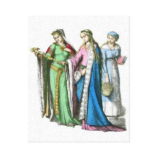 Middeleeuwse edele vrouwen - de Kostuums van de Canvas Afdruk