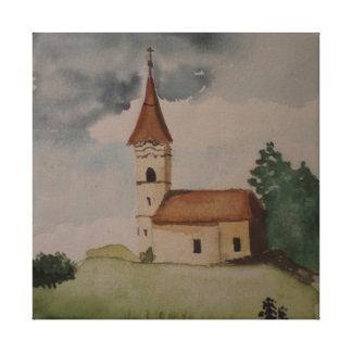 Middeleeuwse Engelse Kerk Watercolour Canvas Afdrukken