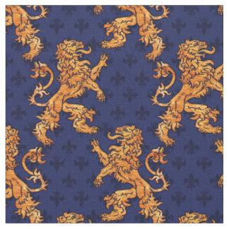 Middeleeuwse Gouden Leeuw Blue Fleur DE Lis Stof
