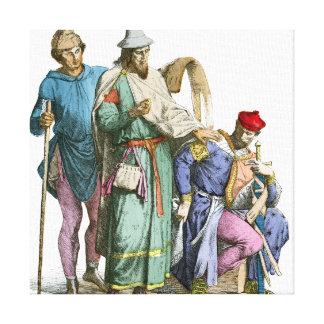 Middeleeuwse Jood en Ridder - de Kostuums van de Canvas Afdruk