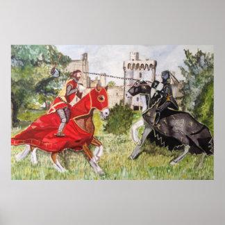 Middeleeuwse Joust tegen een Poster van het