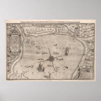 Middeleeuwse Kaart Livonia Poster
