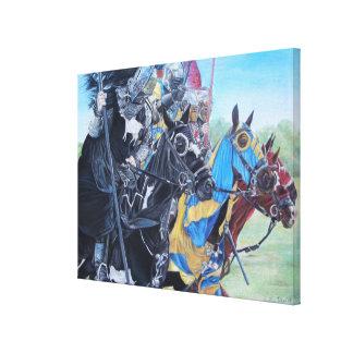 middeleeuwse ridders die op paarden historisch canvas afdruk