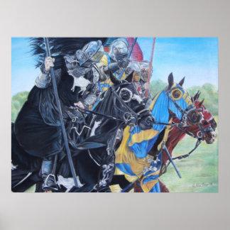 middeleeuwse ridders die op paarden historisch poster