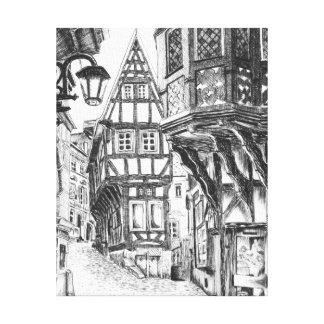 Middeleeuwse Townscape Canvas Afdrukken