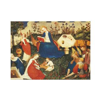 Middeleeuwse tuin van Eden Canvas Afdruk