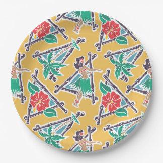 """Miel de danse polynésienne - jaune - 9"""" plaque à assiettes en papier"""