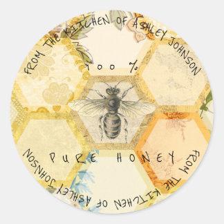 Miel fait maison de 100 % de l'abeille de cuisine sticker rond