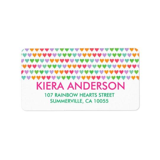 Mignon chic de motif coloré d'amusement de coeurs étiquette d'adresse