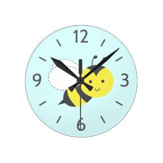 Mignon de même que peut abeille, pour des enfants horloge ronde