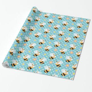 Mignon gaffez l'abeille et le motif de fleur papier cadeau