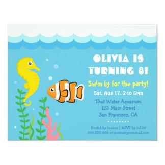 Mignon sous la fête d'anniversaire d'aquarium de carton d'invitation 10,79 cm x 13,97 cm