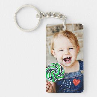 Mijn Zoete Foto Tweezijdige Keychain van de Liefde Sleutelhanger