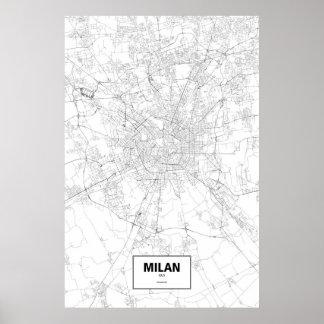 Milaan, zwart Italië (op wit) Poster