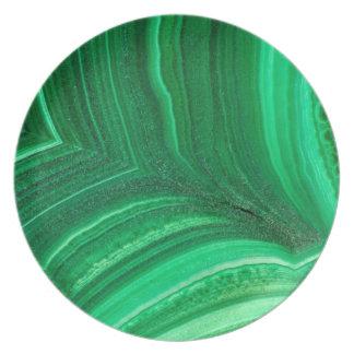 Minerai vert clair de malachite assiettes en mélamine