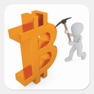 Mineur de Bitcoin extrayant le crypto autocollant