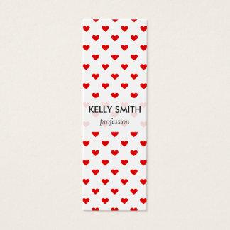 Mini Carte De Visite Amour rouge de motif de coeur
