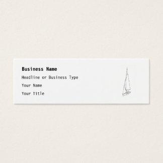 Mini Carte De Visite Bateau à voile. Croquis en noir et blanc.