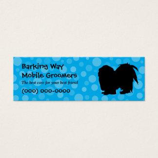 Mini Carte De Visite Bleu de soin des animaux familiers de Pekingese