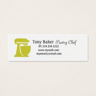 Mini Carte De Visite Chef de pâtisserie vert de boulangerie de batteur