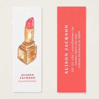 Mini Carte De Visite Distributeur rouge de couleur de lèvre d'or