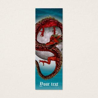 Mini Carte De Visite Dragon rouge oriental d'imaginaire