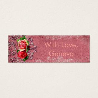 Mini Carte De Visite Étiquette vintage rouge de damassé