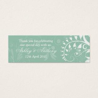 Mini Carte De Visite Étiquettes florales blanches vertes en bon état de