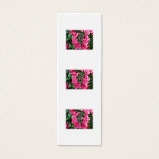 Mini Carte De Visite Hortensias. Fleurs roses. Blanc