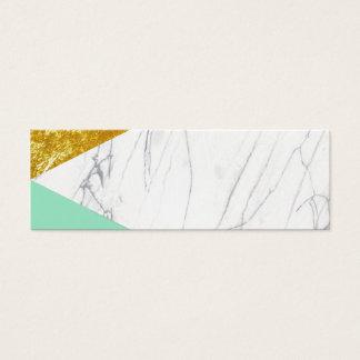 Mini Carte De Visite Marbre de Teal d'or blanc