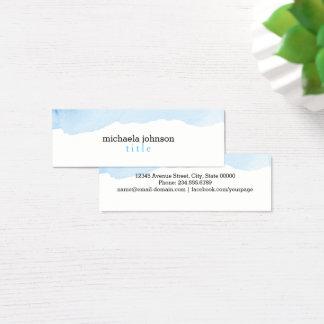 Mini Carte De Visite Minimal BLEU d'aquarelle élégante