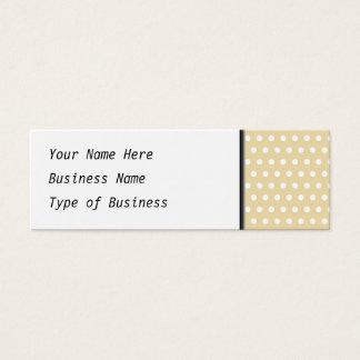 Mini Carte De Visite Motif de point beige et blanc de polka. Tacheté