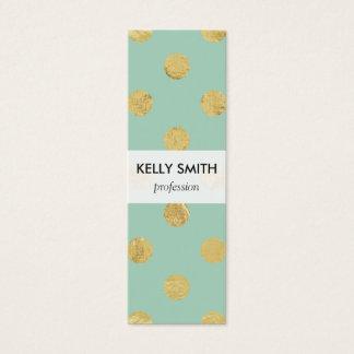 Mini Carte De Visite Motif de point élégant de polka de feuille d'or -
