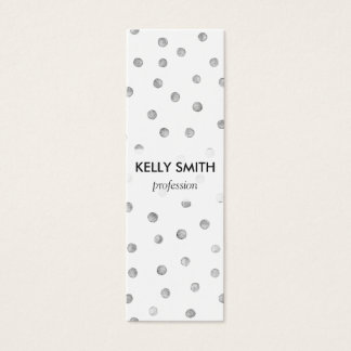 Mini Carte De Visite Motif de points de confettis de blanc gris