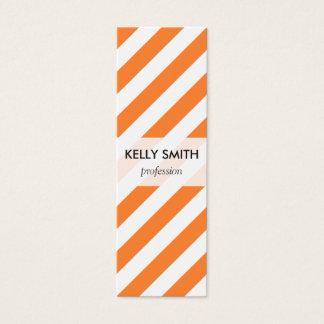 Mini Carte De Visite Motif diagonal orange et blanc de rayures