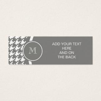 Mini Carte De Visite Pied-de-poule gris et blanc votre monogramme