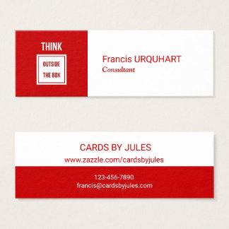 Mini Carte De Visite Professionnel moderne blanc rouge de conseiller