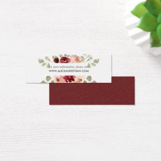 Mini Carte De Visite Site Web floral de mariage de Bourgogne et de