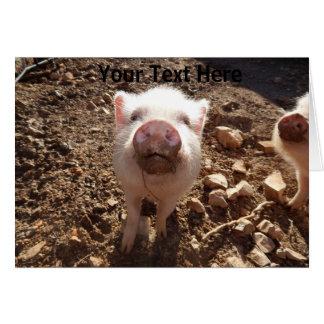 Mini carte de voeux personnalisée de porc de