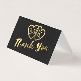 Mini cartes de Merci de coeurs noirs mats d'or