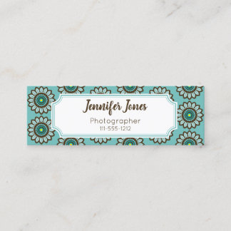 Retro Stylized Teal Flower Mini Business Cards