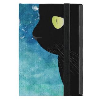 Mini cas de chat noir de portrait d'iPad élégant Étui iPad Mini