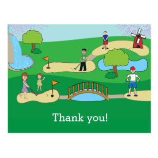 Mini Merci d'anniversaire de golf miniature Carte Postale